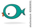stock photo : Cute and funny cartoon fish with huge eyes. Vector version also available.