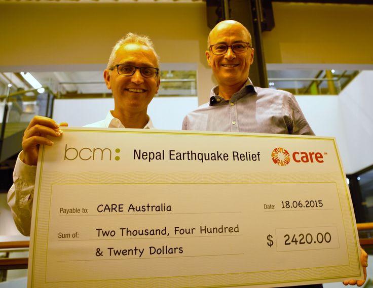 BCM raises money for the Nepal Earthquake relief effort for CARE Australia