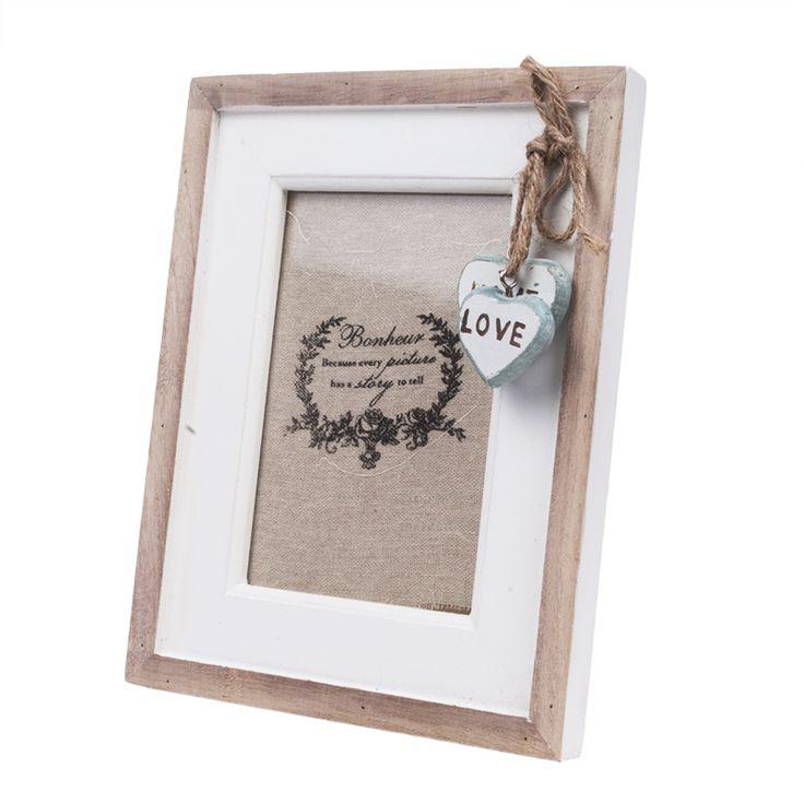"""Ramka na zdjęcie z wiszącymi serduszkami """"Home & Love"""" lovelypassion.pl #shabbychic #vintage #country #shop #decor #home #dom #dekoracja #inspiration #beautiful #photo #frame"""