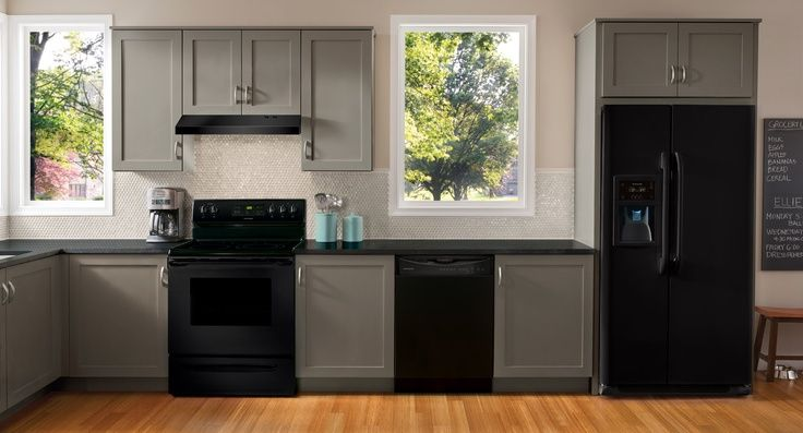 Grey cabinets with black appliances grey with black for Kitchen cabinets with black appliances