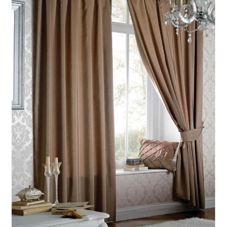 Faux Silk Pencil Pleat Curtains in Light Brown