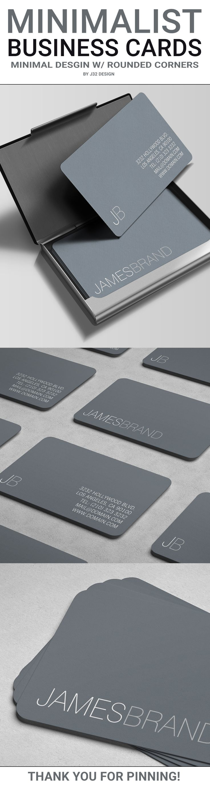 Elegant Minimalist Business Card An elegant two sided business card with a very clean and minimal look using a thin font type. The front shows only your first and last name. The back side includes your contact details on the right and your names initials http://jrstudioweb.com/diseno-grafico/diseno-de-logotipos/