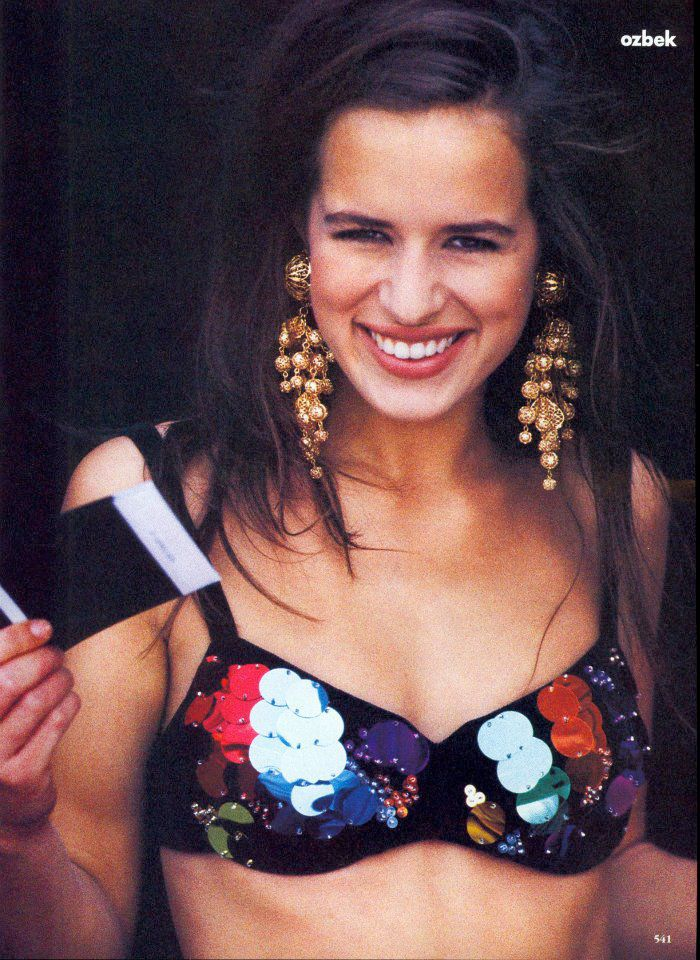 Jade Jagger in Rifat Ozbek. Photographed by Patrick Demarchelier and styled by Carlyne Cerf de Dunzeele for Vogue, September 1990.