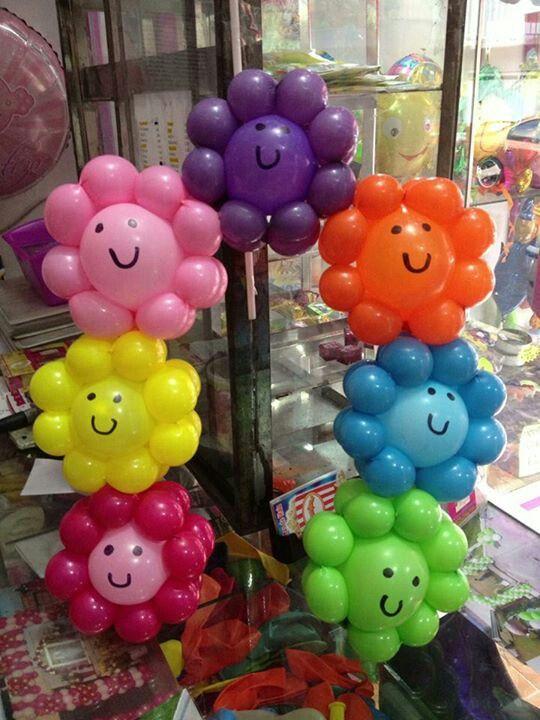 flores sonrisa globos simpatica decoracion de fiesta celebracion evento rosa lila naranja rojo verde nios infantil