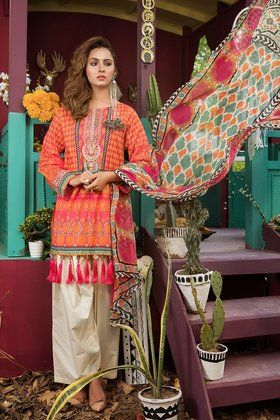 35cb45206c8 Maria.B 3 Pieces Printed Custom Stitched Lawn Collection - Pink - MPT-204-B