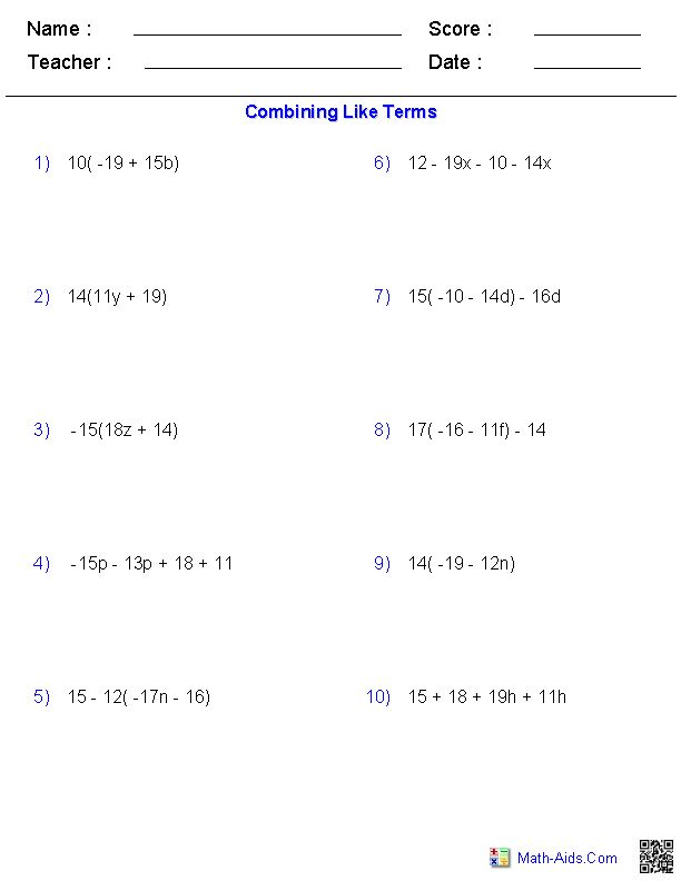 Combining Like Terms Worksheets   Math Aids.Com