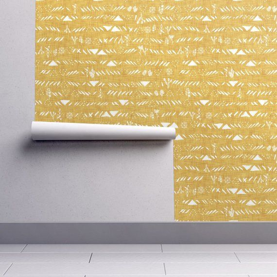 Mustard Wallpaper Sticks And Stones By Nouveau Bohemian Etsy Mustard Wallpaper Wallpaper Self Adhesive Wallpaper