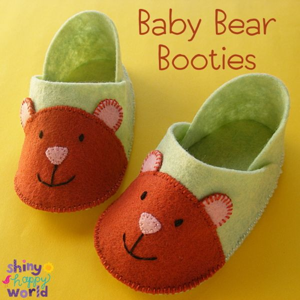 Baby Bear Booties - a free felt booties pattern from Shiny Happy World