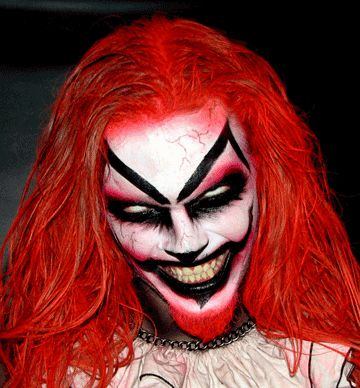 Scary clown make up at Cutting Edge Haunted House, Fort Worth, Texas.  A great clown special FX makeup idea / Pairs best with all-white contacts => http://www.pinterest.com/pin/350717889705763104/