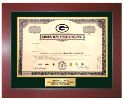 Green Bay Packers stock certificate frame.