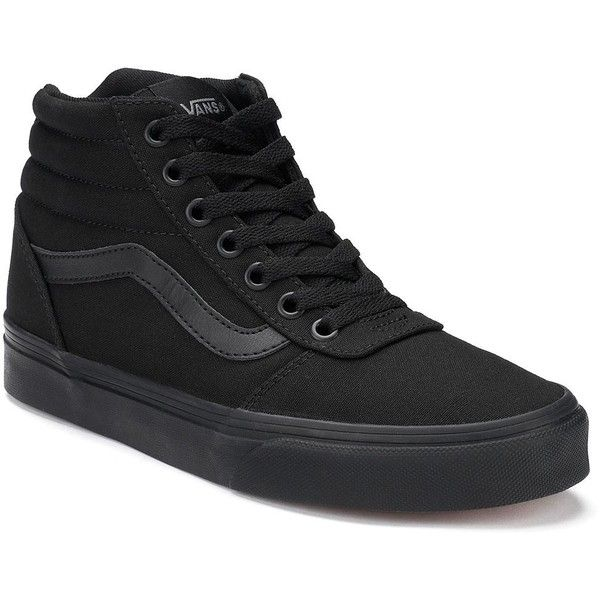 Vans Ward Hi Women's Canvas Skate Shoes ($65) ❤ liked on Polyvore featuring shoes, sneakers, black, vans shoes, vans high tops, vans sneakers, black sneakers and canvas high tops