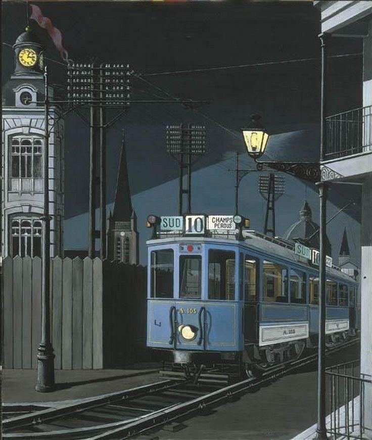 Paul Delvaux (Belgian, 1897-1994), Tram nocturne (or Champs perdus), 1950. Oil on board, 129.5 x 108.6 cm.