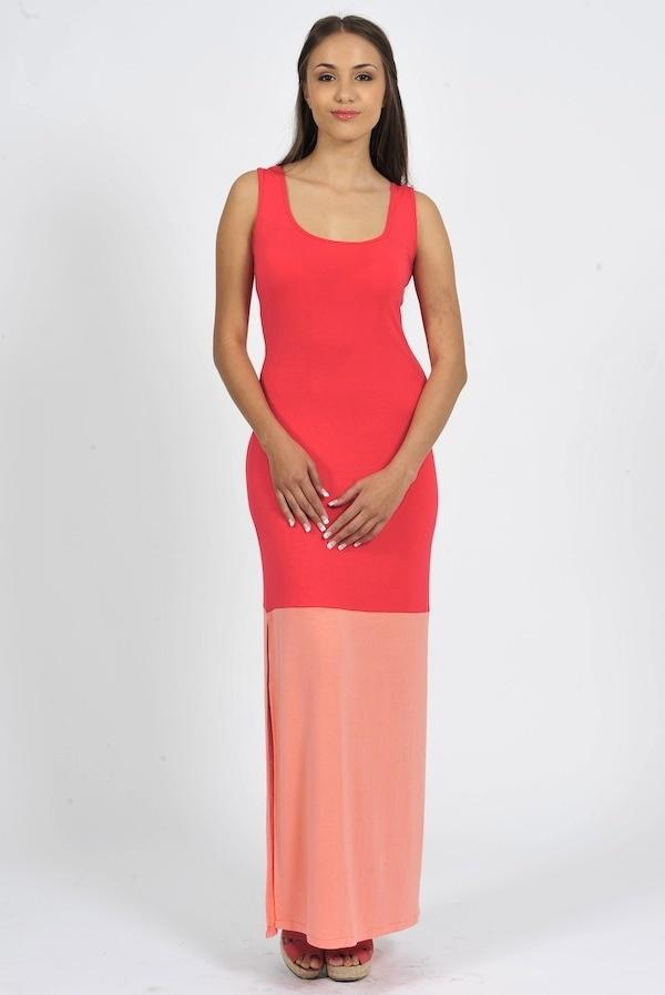 Diligo coral colour block maxi dress with side slit | www.diligo.co.za