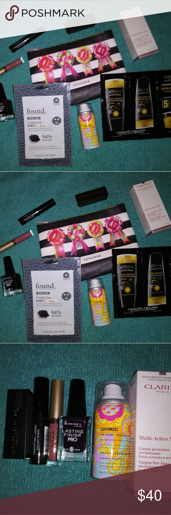 High end makeup bundle Clarins multi-active nuit amika hair mask Rimmel purple rain nail polish Stila lipgloss- patina Laura Geller eyelash primer Anastasia stick foundation or bronzer- mink Loreal shampoo, conditioner & mask sample Found charcoal sheet mask sample Sephoria christmas bag   All brand new never used or swatched. Sephora Makeup