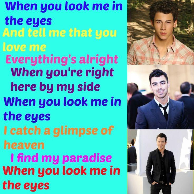 Jonas brothers lyrics look me in the eyes