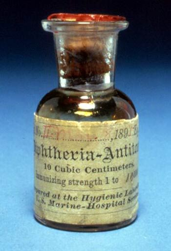 A photograph of one of the first bottles (1895) of diphtheria antitoxin produced at the Hygienic Laboratory