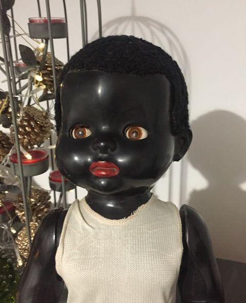 1950s Black Pedigree Walker Hard Plastic Vintage Doll in Original Onesie