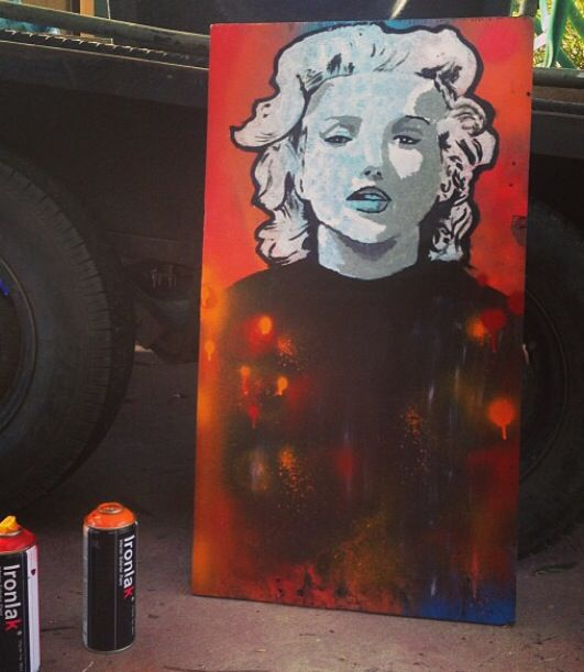 Marilyn Monroe on timber board #portrait #mixedmedia