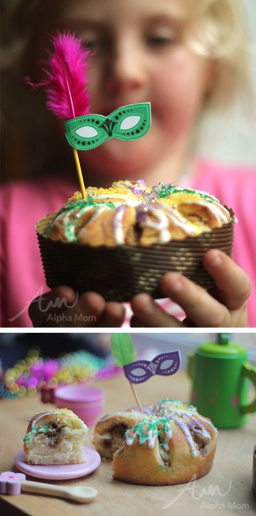 Mardi Gras Mini King Cakes with Tiny Mask Toppers printable (for tea party) by Brenda Ponnay & Mixed Bakery for Alphamom.com