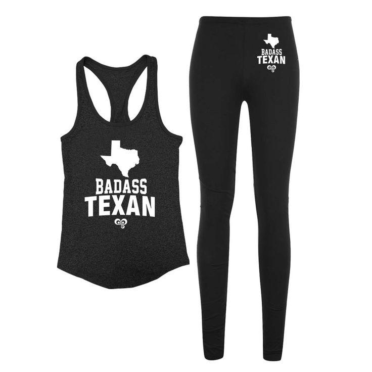 Badass Texan Reflective Leggings and Tank Top Set