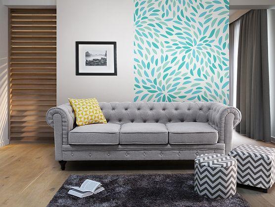 Kárpitozott kanapé - világosszürke - vintage dizájn - CHESTERFIELD