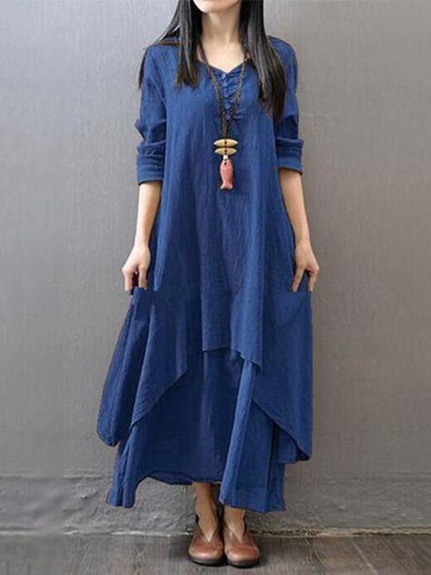 Casual Asymmetric Long Sleeve Plus Size Maxi Linen Dress in 2019  4894859bc087