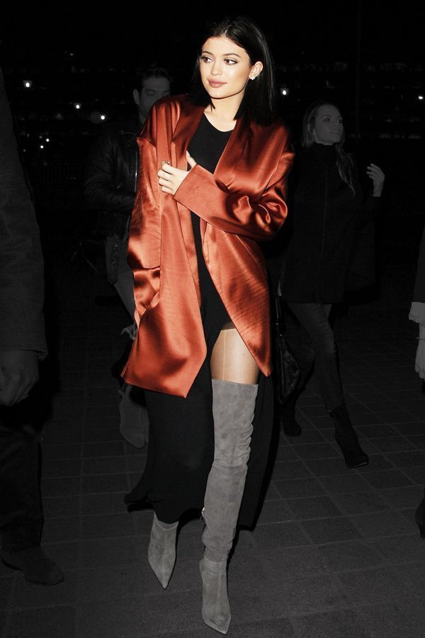 Kylie Jenner Wore A Silk Bed Jacket To Dinner  #refinery29  http://www.refinery29.com/2015/03/83935/kylie-jenner-silk-trench-coat-outfit#slide-1  Kylie Kenner wore a silk robe, maxi dress, and thigh-high boots out to dinner in London this week.