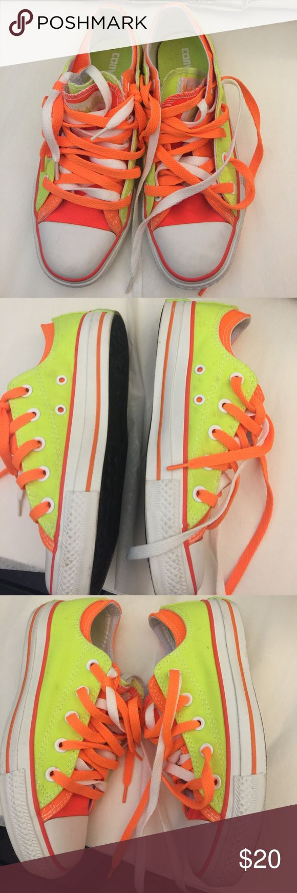 "Neon converse Neon orange and highlighter converse sneakers doubled lace.  Purchased and worn once for a ""neon party"". Shoes show signs of wear on inside fabric and pictured.  No holes.  Can probably be washed and look new just don't have a use for them anymore.  No box Converse Shoes Sneakers"