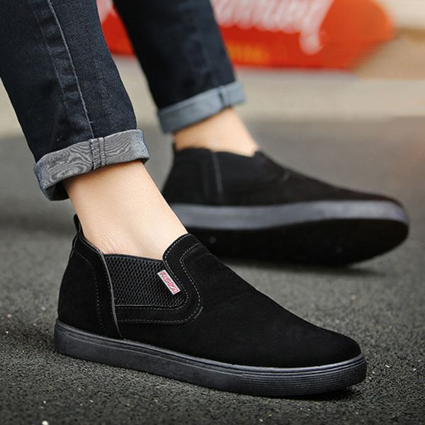 Men Low Top Soft Sole Elastic Band Slip On Sneakers