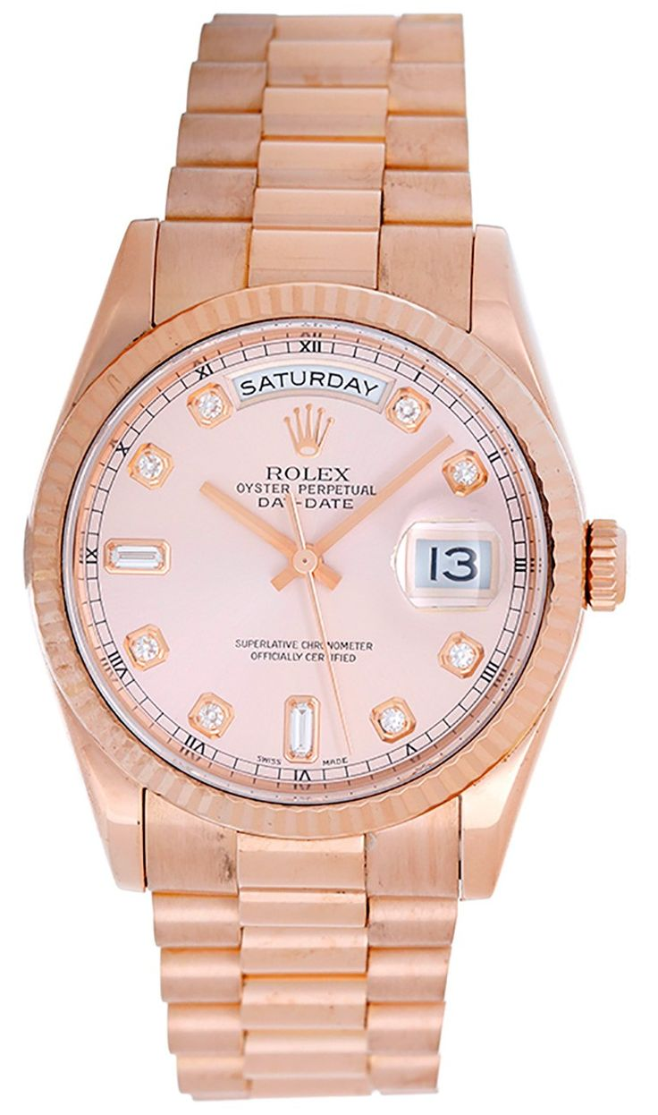 Rolex President Day-Date Men's Rose Gold Watch with Diamond Dial