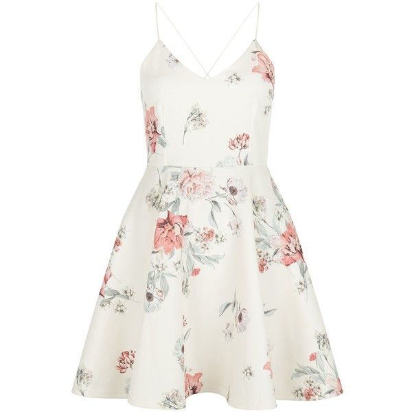 New Look White Floral Print V Neck Skater Dress (£30) ❤ liked on Polyvore featuring dresses, white pattern, white floral dress, v neck dress, print skater dress, skater dress and summer dresses