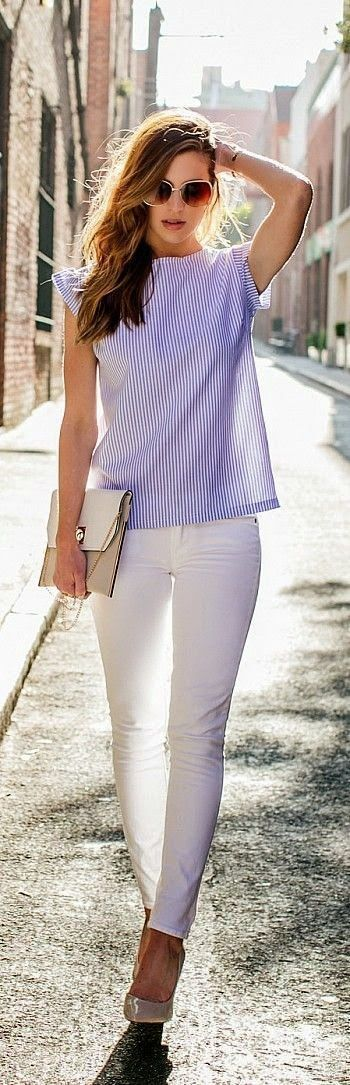 Try Stich Fix!!! Blue stripe top and white jeans. Just click on the picture to get your first stitch fix box!!! Spring summer 2016 2017 outfit styl… | Pinteres…