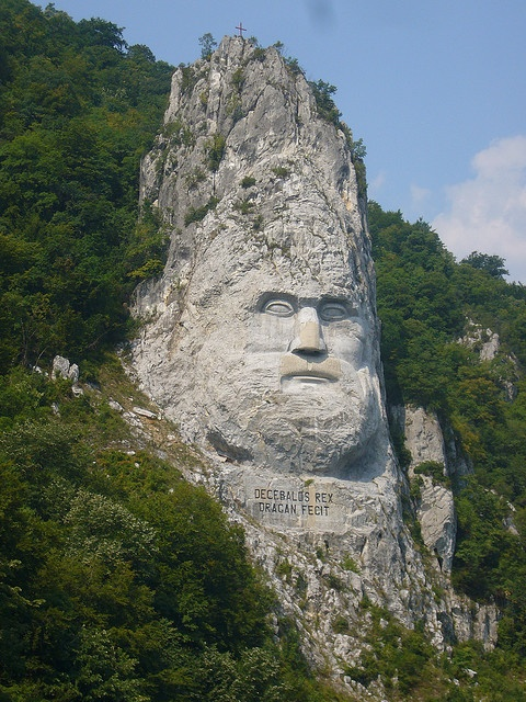 Decebalus, King of the Dacians, who rebelled against the Roman Empire. Can be viewed from the Danube.