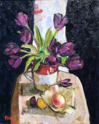 Scottish Artist Archie FORREST-Burgundy Tulips with Exotic Fruit
