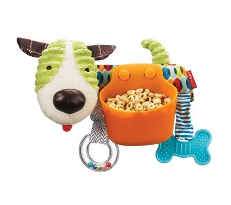 Skip Hop PUPPY Stroller Bar Snack Toy.2-in-1 travel pal for on-the-go fun. This playful pup attaches to the stroller bar, keeping little ones busy while out and about. Baby can explore multiple textures and sounds while the dishwasher-safe holder keeps snacks handy throughout the ride.
