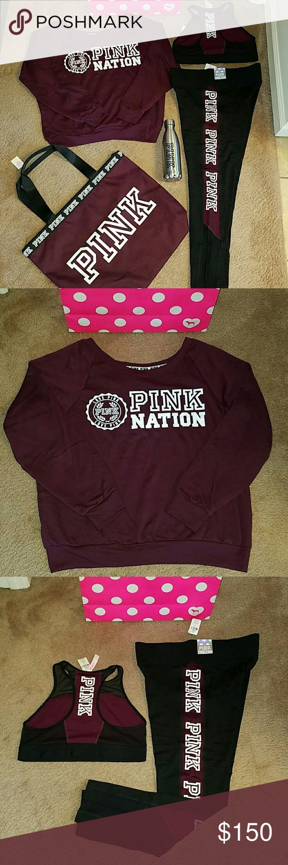 VS PINK limited edition PINK Nation bundle VS PINK limited edition PINK Nation complete set in black orchid. Includes slouchy crew sweatshirt (size L), unlined sports bra with logo on the back (size L), ultimate yoga legging with logo on both sides (size L), tote bag with logo on front and metal water bottle! All brand new with tags and never used! Includes VS PINK logo shopper! PINK Victoria's Secret Pants Leggings