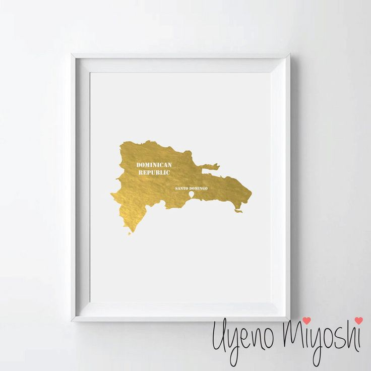 Dominican Republic Map Gold Foil Print, Gold Print, Map Custom Print in Gold, Art Print, Map of Dominican Republic Gold Foil Art Print by UyenoMiyoshi on Etsy