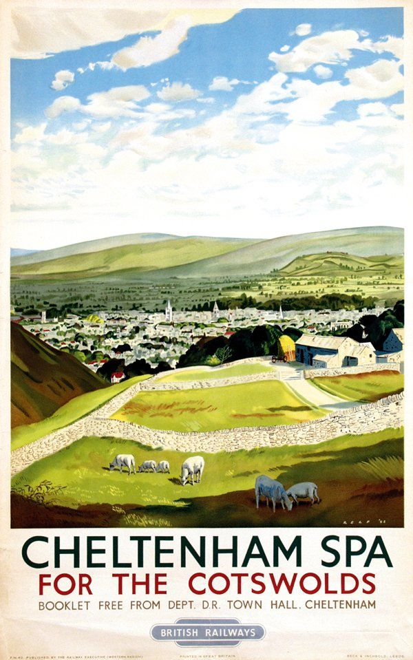Cheltenham Spa vintage British Railways poster 1948