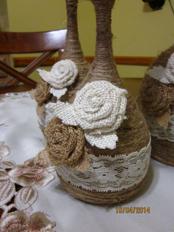 Wine Glass Candle Holder Twine Wrapped Wine от CrystalsMarket