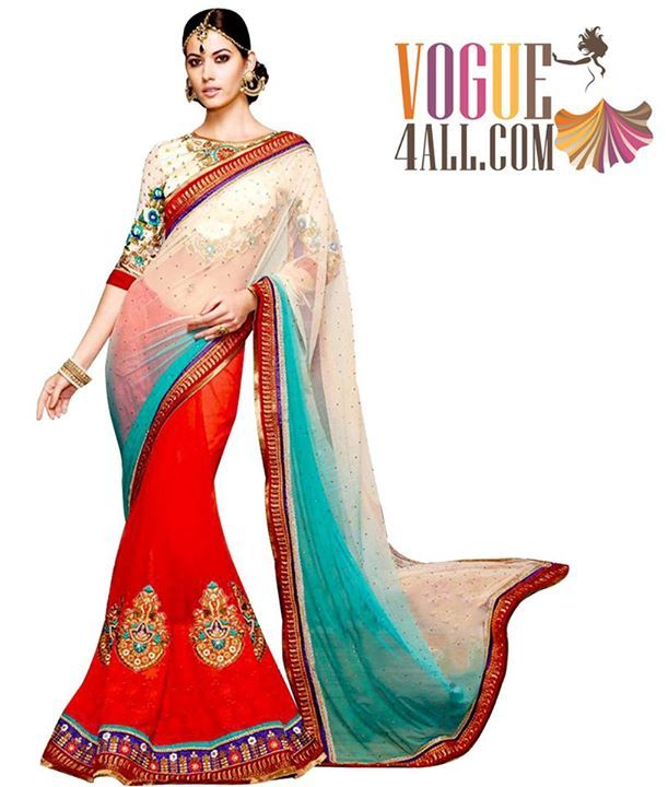 ## BEAUTIFUL SPARKLING NET AND GEORGETTE EMBROIDERED SAREE ##