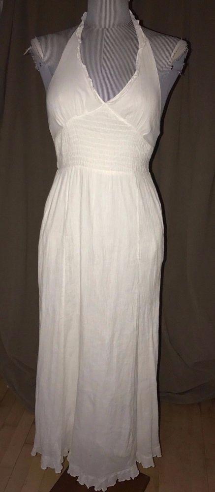57478d54e Anthropologie Maeve white gauze cotton halter maxi dress 2  #AnthropologieMaeve #Maxi #versatile