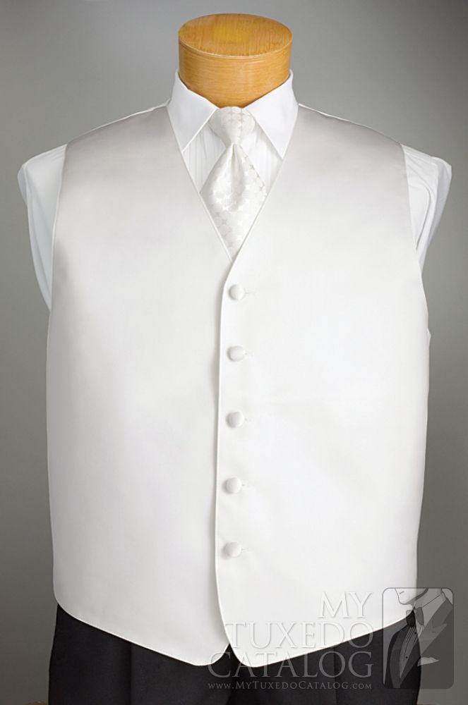White 'Solid Satin' Vest from http://www.mytuxedocatalog.com/catalog/vests/VM48W-White-Solid-Satin-Vest/