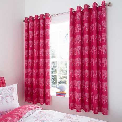 Elephant Pink Blackout Eyelet Curtains | Dunelm