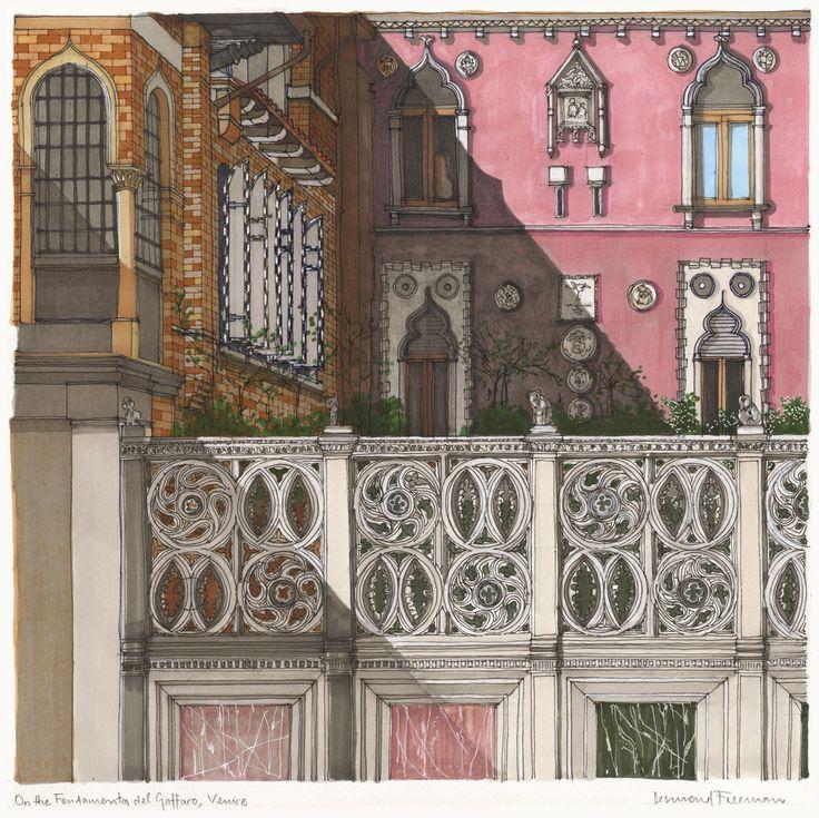 On the Fondamenta del Gafferano, Venice. #Venice #Architecture #Art #Drawing #Prints