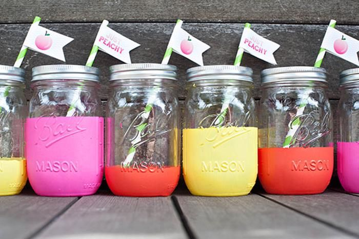PAINTED MASON JARS at a Peach Themed Party with Such Darling Ideas