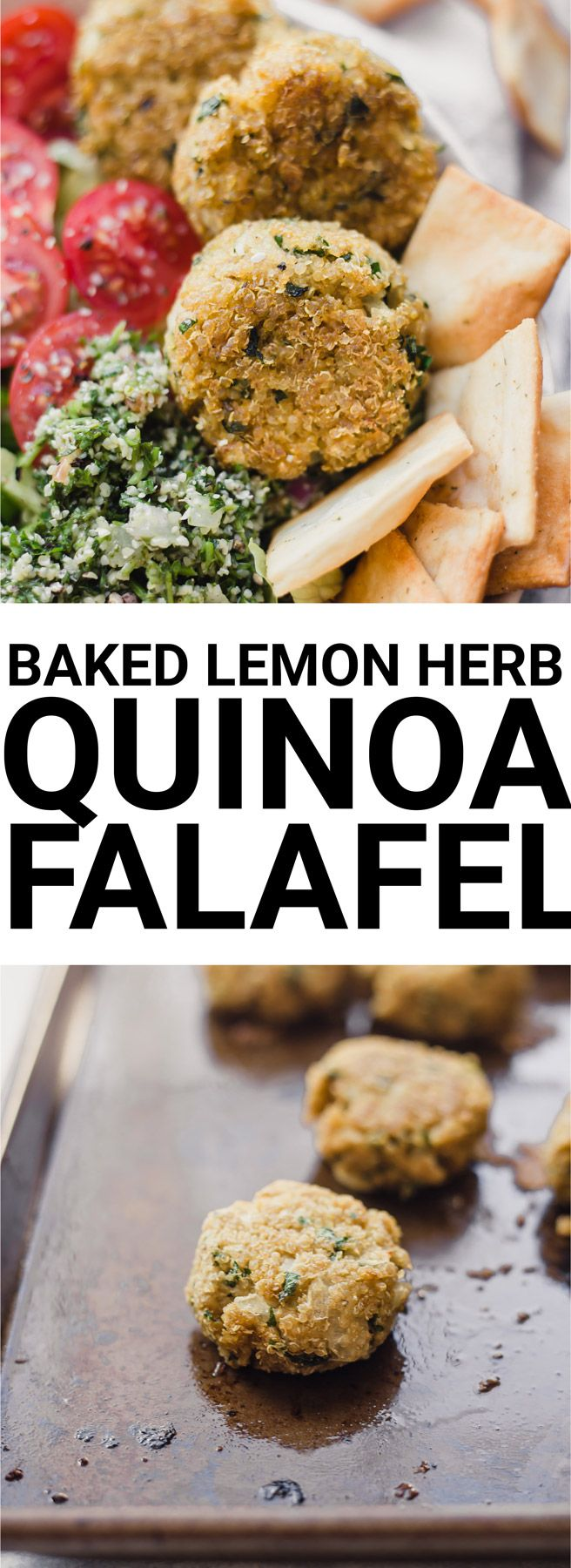 Baked Lemon Herb Quinoa Falafel: An easy, non-traditional falafel recipe that's full of flavor! Naturally vegan and gluten free, and perfect for topping grain bowls, salads, pita sandwiches, and more! || fooduzzi.com recipe #falafel #quinoa #vegan