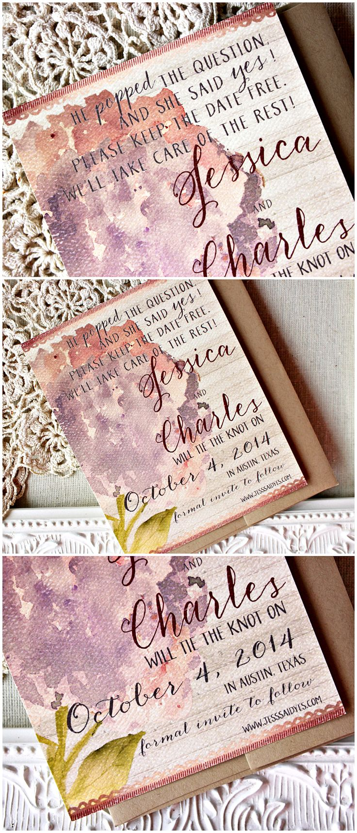 Rustic Watercolor Hydrangea Save the Date | Rose, Marsala | Sunshine and Ravioli
