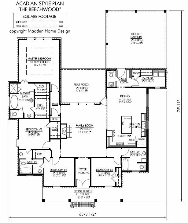 Madden home design the beechwood the beechwood for Acadian style floor plans