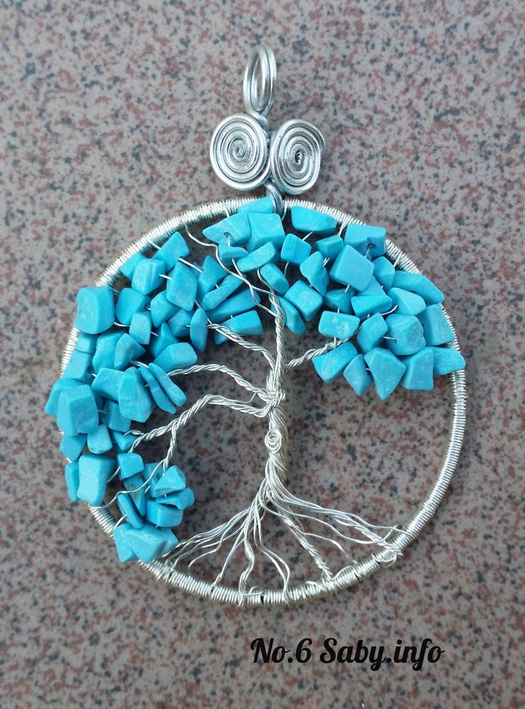Wire Tree Pendant. No 6.Silver wire with turquoise stones. (4 cm). Hand-made by Sabine Stroo - van de Flier. Sold.