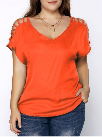 Plus Size V Neck Ripped Sleeve Tee 2